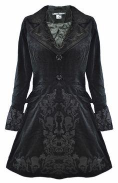 Spin Doctor Victorian Steampunk Goth Emo Black Velvet Frock Coat Jacket d56087cc5d