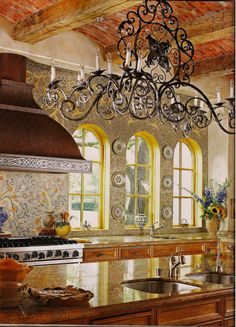 Fabulously colorful and cheery designer kitchen ~