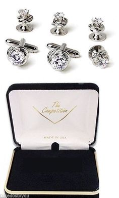Cufflinks 137843: New Mens Silver Love Knots Cubic Zirconia Cuff Links Studs Box Set Top Quality -> BUY IT NOW ONLY: $59.95 on eBay!