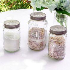 Rustic Wedding Idea - Sand Mason Jars instead of a traditional unity set! Personalized Mason Jar Sand Ceremony Set puts a trendy twist on a classic wedding tradition!