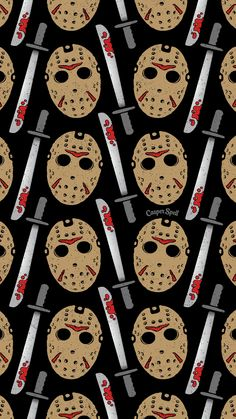 Friday the 13th Jason Voorhees repeat pattern art surface design illustration background wallpaper patterns wallpapers backgrounds free horror killer Slasher 80s film movie flick serial hockey mask machete Casper spell www.casperspell.com