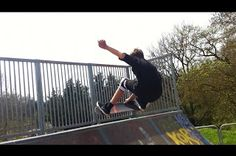 doing a frontside air on the local halfpipe