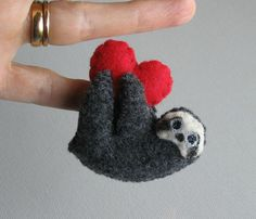 NOT FOR PURCHASE - Valentine Sloth miniature felt plush stuffed animal with bendable legs and hand painted face- black -rain forest animal on Etsy, $15.00