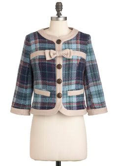 Brit Lit Love Blazer by Knitted Dove - Short, Red, Blue, Purple, Tan / Cream, Plaid, Bows, Buttons, Pockets, Work, Vintage Inspired, 2, Multi, 3/4 Sleeve