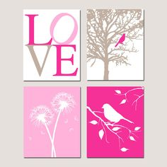 Baby Girl Nursery Art Quad - Set of Four 11x14 Prints - LOVE, Bird in a Tree, Dandelions Floral, Bird on a Branch - Choose Your Colors