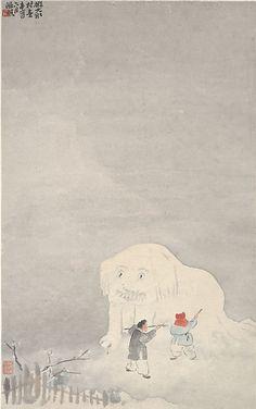 Yu Ming (Chinese, 1884–1935). 近代 俞明 堆雪獅子圖 冊頁 Making a Snow-lion, ca. 1921. The Metropolitan Museum of Art, New York. Gift of Robert Hatfield Ellsworth, in memory of La Ferne Hatfield Ellsworth, 1986 (1986.267.147)