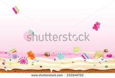 Vector illustration of candies falling down to cream