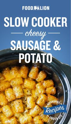 Sausage and potatoes are a classic combination for a hearty meal. Sausage and potatoes are a classic combination for a hearty meal. Make it even better by adding melted cheese in the slow cooker with this easy and affordable meal! Crockpot Dishes, Crock Pot Slow Cooker, Crock Pot Cooking, Slow Cooker Recipes, Crockpot Recipes, Cooking Recipes, Slow Cooker Breakfast, Breakfast Dishes, Breakfast Recipes