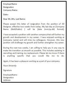 Letter Of Resignation Template Word Resignationletter Help Resignationlett On Pinterest
