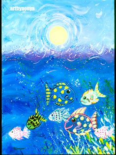 Happy Fish in the Ocean.  Whimsical art print.  How by artbynonya, $15.00