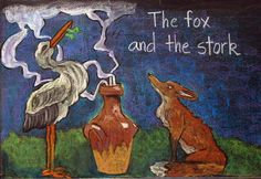 Waldorf ~ 2nd grade ~ Aesop's Fables ~ The Fox and the Stork ~ chalkboard drawing