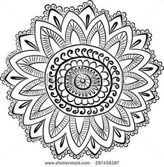 Template for mehndi ornament. Mandala Coloring Pages, Colouring Pages, Zentangle, Mehndi Patterns, Flower Mandala, Mandala Design, Vector Art, Ethnic, How To Draw Hands