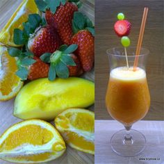Skvělý je i zázvor. Smoothie Detox, Smoothies, Pineapple, Food And Drink, Health Fitness, Peach, Pudding, Fruit, Drinks