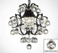 Wrought Iron Mini Crystal Chandelier Lighting W/ Crystal Balls! - A7-B6/592/1