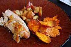 Apple-Stuffed Roasted Chicken With Sweet Potato Chips #Primal #Paleo