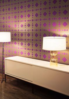 Mid-Century amazing temporary wallpaper. #purple #decor