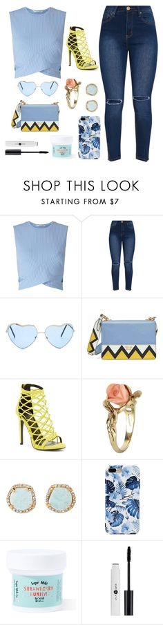 """""""Blue and Yellow."""" by starry-eyed0310 ❤ liked on Polyvore featuring Miss Selfridge, Prada, Wild Diva, Vintage, Louise et Cie and Sugar Milk Co"""