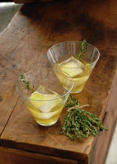 Ulysses Left on Ithaca Cocktail: 4 ounces (120 ml) freshly brewed Earl Grey tea cooled, 3 ounces (90 ml) smoked American whiskey, 2 ounces (60 ml) Spicy Ginger Honey Simple Syrup, 1 ounce (30 ml) club soda, 2 pinches of sea salt, 2 sprigs of thyme