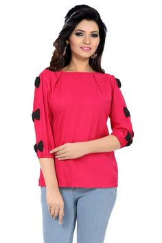 e032a8fa455d1 Ishin Poly Cotton Pink Basic Top  Amazon.in  Clothing  amp  Accessories  Western