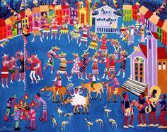 AECIO TEMA FESTA DO PELOURINHO A VENA COM AJUR SP (Painting),  50x40 cm por Arte Naif AJUR SP VENDEDOR E DIVULGADOR DA ARTE NAIF BRASILEIRA