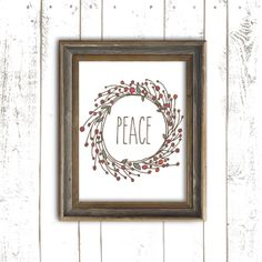 Christmas Art Printable - Peace Holiday Wreath Print - Instant Download Christmas Typography