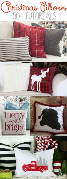 50+ DIY Christmas pillow tutorials, lots of adorable Christmas decor ideas!