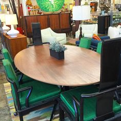 Fabulous set of 6 Mid century modern black lacquered chairs by Widdicomb with original green silk