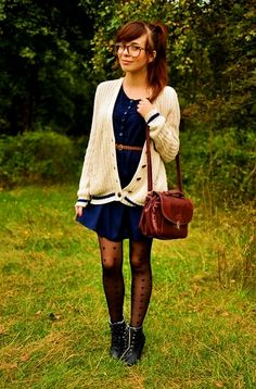 blue dress with loose cardigan