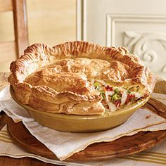 Double-Crust Chicken Pot Pie - uses frozen hash browns and frozen puff pastry