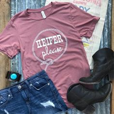 HEIFER, PLEASE! Soft Graphic Tees for small town women with a relaxed unisex fit. Western Graphic T-shirt, Farm Graphic T-shirt