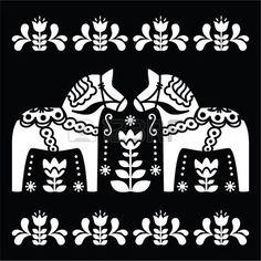 Dala del sueco o caballo patr�n Daleclarian arte popular en negro photo