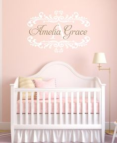 Name Wall Decal Damask Wall Decal Shabby Chic Heart Frame Personalized Name and Initial Vinyl Wall Decal for Girl Baby Nursery 22Hx33W FS330