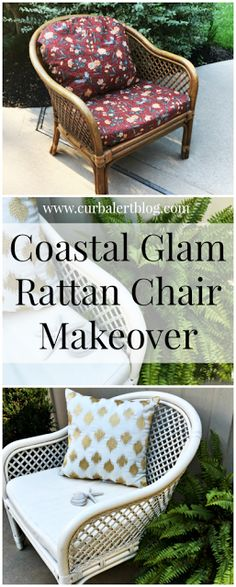 Curb Alert! : Coastal Glam Rattan Chair Makeover