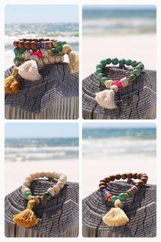 Boho playa 3 Set pulseras de borlas tribales por HappyGoLuckyJewels