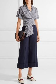 Michael Kors Collection - Cropped Gingham Cotton-blend Poplin Wrap Top - Navy