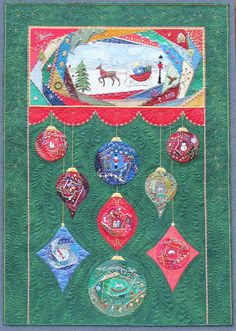 """Christmas Crazy"" by Linda Steele (Australia). Hand embroidered and machine quilted. This quilt won 1st prize in Mixed Techniques at the Victorian Quilters Showcase 2013 and it has also been accepted into the 2013 Houston Quilt show."