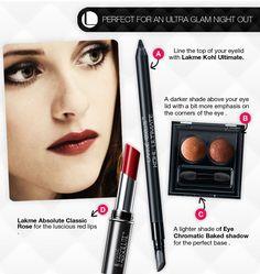 Smokey eyes and deep red lips just like Kristen.
