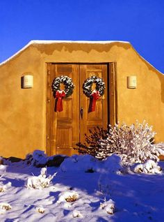 Door with Wreaths, Santa Fe, New Mexico