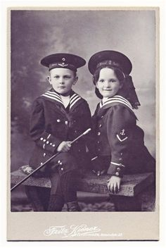 +~+~ Antique Photograph ~+~+  Siblings in adorable Sailor Outfits.  c. 1905