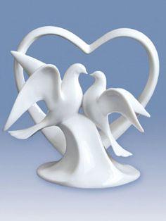 Porcelain Doves Wedding Cake Topper $24.00; wedding cake toppers; bird cake toppers