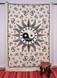 Yin Yang Hippie Hippy Indian Sheet Wall Tapestry Tail Fan Cotton Decor Throw Bedspread Etchnic Decor from Bhagyoday Fashions