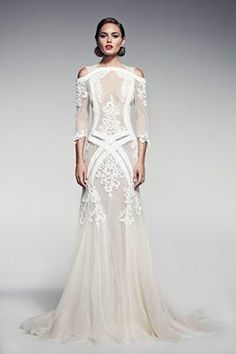 white lace gown Criss Cross detail could be used on a pant