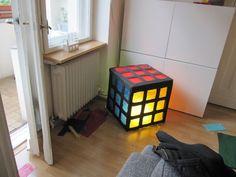 Cardboard Rubiks Cube lamp shade #lighting #toy #decoration