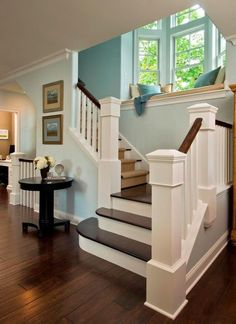 Love the open staircase and window seat.I totally want a window seat in my dream home! Future House, Traditional Staircase, Traditional Exterior, Traditional Kitchen, Sweet Home, Character Home, My Dream Home, Home Projects, House Plans