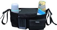 Damero Pram Buggy Buddy Stroller Organizer Storage Bag with Shoulder Strap, Great for Bike or Car Seat Organizer, Black