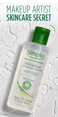 Prep your skin like a celebrity makeup artist. New @simpleskincare Micellar Cleansing Water is a no-rinse face wash that will leave your skin feeling fresh and revitalized. It's made with Triple-Purified Water to thoroughly hydrate even the most sensitive skin. Just apply with a cotton round for a beautiful, healthy skin in no time!