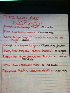 The Lion King movie workout!  Want to see more movie workouts? Follow us here.