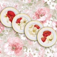"Wall decor 4 plates set ""Poppies"" - home decor, vintage, art, recycled paper, acrylic paint, lacquer, ceramic, housewares"