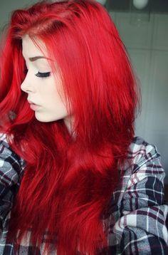 Full bright red hair