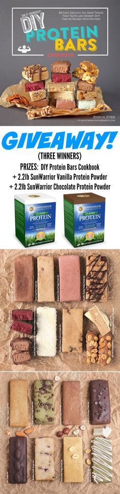 Healthy Homemade Protein Bar Roundup! If you're tired of buying protein/energy bars from the store (and shelling out all the cash for them), make protein bars at home! They're easy, no-bake, fudgy and sweet, you'd never know they're refined sugar free, gluten free, vegan and all natural. If you like these 11 recipes just WAIT until you see the cookbook... it's got 48 recipes!